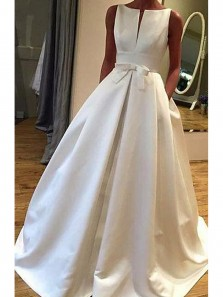 Simple A-Line Open Back Sleeveless White Satin Long Wedding Dresses with Pockets