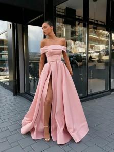 Unique Off the Shoulder Pink Satin Long Prom Dresses with Side Split,Formal Party Dresses DG9012006