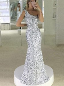 Sparkly Mermaid One Shoulder Open Back Silver Sequins Long Prom Dresses,Evening Party Dresses