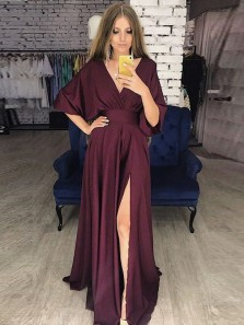 Unique A-Line V Neck Half Sleeve Burgundy Satin Long Prom Dresses with Split,Evening Party Dresses
