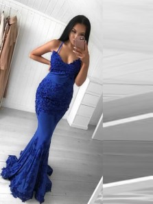 Stunning Mermaid Sweetheart Open Back RoyalBlue Elastic Satin Long Prom Dresses with Appliques,Evening Party Dresses