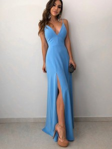 Simple Sheath V Neck Spaghetti Straps Open Back Blue Satin Long Prom Dresses with Side Split,Evening Party Dresses