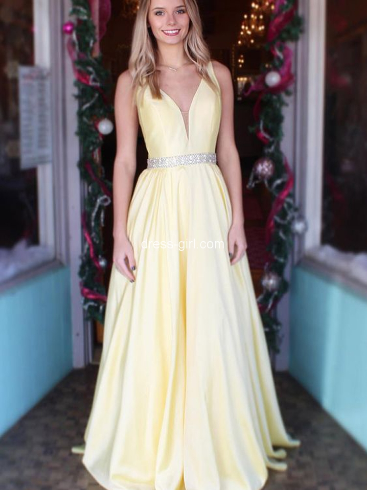 b26df855e3e Simple A-Line V Neck Open Back Yellow Satin Long Prom Dresses with Beaded