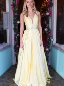 Simple A-Line V Neck Open Back Yellow Satin Long Prom Dresses with Beaded,Formal Prom Gown
