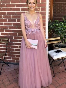 Romantic A-Line V Neck Open Back Blush Tulle Long Prom Dresses with Appliques,Charming Evening Dresses
