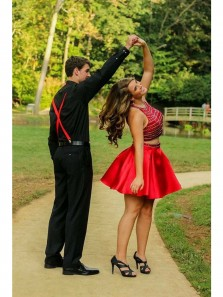 Cute A-Line Two Piece Red Satin Short Homecoming Dresses with Beaded,Short Prom Dresses DG0917006