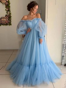 Stunning A-Line Off the Shoulder Long Sleeve Open Back Blue Tulle Long Prom Dresses,Pageant Dresses