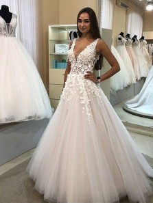 Charming A-Line V Neck Open Back White Tulle Long Prom Dresses with Appliques,Quinceanera Dresses