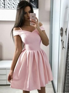 Princess A-Line Off the Shoulder Open Back Pink Satin Short Prom Homecoming Dresses,Cocktail Party Dresses Under 100 DG0417006