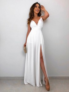 Simple A-Line V Neck Open Back White Chiffon Long Prom Dresses with Split,Evening Party Dresses Under 100