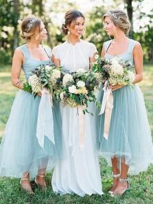 Simple A-Line Square Neck Mint Tulle Ankle Length Bridesmaid Dress DG0925007
