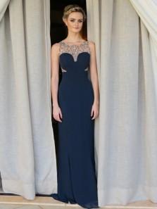 Elegant Sheath Scoop Neck Open Back Navy Blue Chiffon Long Bridesmaid Dresses with Beading