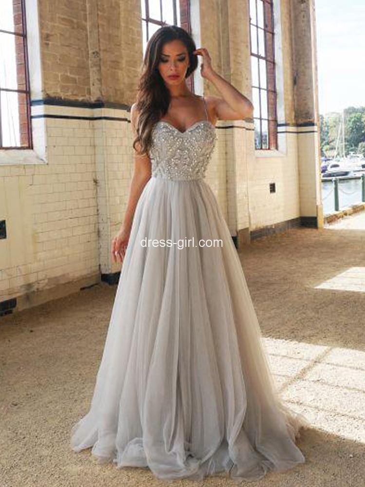 d5885225c7 Modest A-Line Spaghetti Straps Open Back Light Grey Tulle Long Prom Dresses  with Beading
