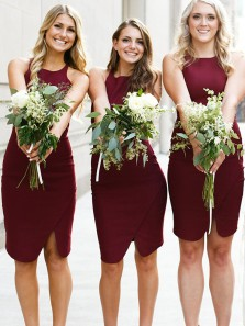 Simple Bodycon Round Neck Burgundy Elastic Satin Short Bridesmaid Dresses