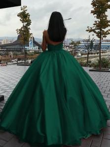 Stunning V Neck Open Back Green Satin Long Prom Dresses,Quinceanera Dresses