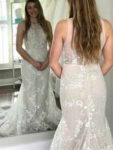 Classy Sheath Round Neck Ivory Lace Wedding Dresses with Train