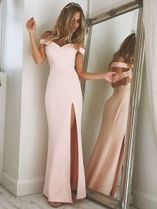 Simple Sheath Off the Shoulder Open Back Light Pink Satin Long Prom Dresses with Side Split,Evening Party Dresses