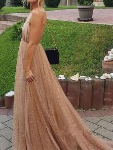 Sparkly A-Line V Neck Backless Gold Sequins Long Prom Dresses,Evening Party Dresses DG1212007