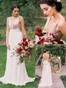 Elegant A-line V Neck Sequins Long Bridesmaid Dress with Open Back