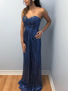 Modest A-Line Sweetheart Open Back Navy Blue Sequins Long Prom Dresses,Evening Party Dresses