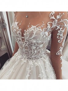 Luxurious O-Neck Long Sleeve Buckle Back Ivory Tulle Wedding Dresses with Train ,Lace Bridal Gown