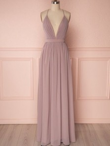 Simple A-Line Deep V Neck Cross Back Blush Chiffon Long Prom Dresses,Bridesmaid Dresses Under 100