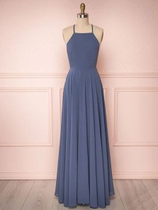 Simple A-Line Halter Cross Back Navy Blue Chiffon Long Prom Dresses,Evening Party Dresses