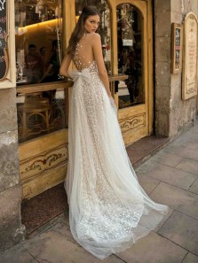 Sexy V-Neck Wedding dresses Lace A-Line Backless Bridal Gown Cheap