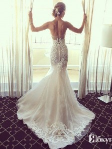 Charming Mermaid Sweetheart Strapless Open Back Court Train Lace Wedding Dress with Applique