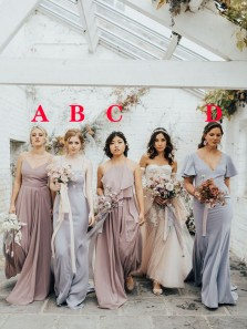 4 Styles Chiffon Boho Bridesmaid Dresses Spring Wedding Party Dresses 2021