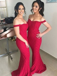 Red Lace Off Shoulder Mermaid Bridesmaid Dresses Plus Size Custom Under 100