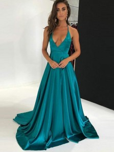 Sexy A-Line Deep V Neck Backless Lake Blue Satin Long Prom Dresses,Evening Party Dresses