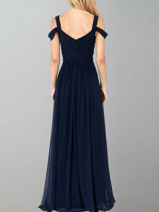 Simple A-Line Off the Shoulder Open Back Navy Blue Chiffon Long Prom Dresses with Side Split,Elegant Evening Party Dresses