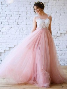 Unique A-Line Jewel Pink Tulle White Lace Long Wedding Dresses