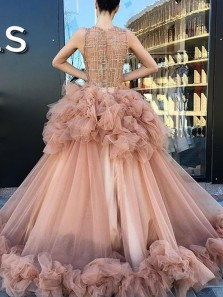 Gorgeous Ball Gown Round Neck Blush Tulle Long Prom Dresses,Charming Evening Gown Prom Gown