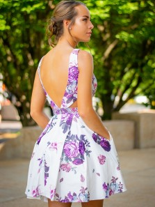 Simple A-Line V Neck Open Back White Floral Printed Short Homecoming Dresses with Pockets,Short Prom Dresses