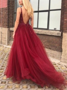 Elegant A-Line V Neck Beaded Open Back Burgundy Tulle Long Prom Dresses with Side Slit,Evening Party Dresses