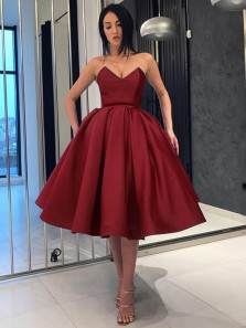 Elegant A-Line Sweetheart Open Back Burgundy Satin Short Prom Dresses,Homecoming Dresses