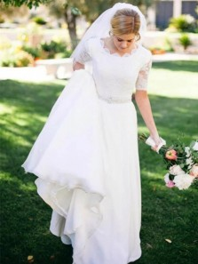 Elegant A-Line Round Neck Half Sleeve White Chiffon Wedding Dresses,Lace Wedding Gown