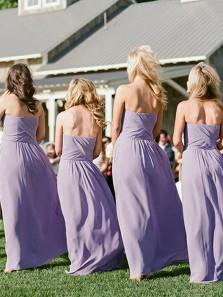 Elegant A-Line Sweetheart Open Back Lavender Chiffon Long Bridesmaid Dresses