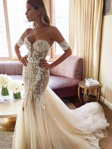 Stylish Sweetheart Watteau Train Mermaid Wedding Dress with White Lace