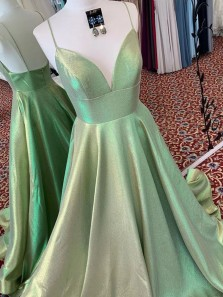 A-Line V Neck Spaghetti Straps Sage Green Sparkly Satin Long Prom Dresses,Graduation Party Dresses