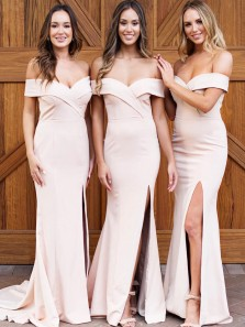 Simple Mermaid Off the Shoulder Light Pink Elastic Satin Long Bridesmaid Dresses with Slit,Wedding Party Dresses