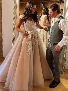 Charming A-Line V Neck Champagne Long Prom Dresses with White Appliques,Formal Party Dresses,Quinceanera Dresses