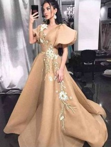 Princess A-Line V Neck Bell Sleeve Gold Satin Long Prom Dresses with Appliques,Evening Party Dresses
