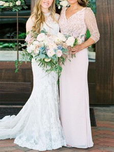 Elegant Sheath V Neck 3/4 Sleeve Light Pink Chiffon Long Mother of the Bride Dresses with Sequins