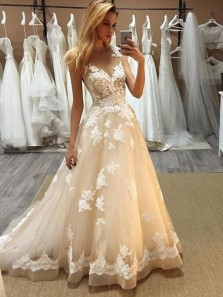 Gorgeous A-Line V Neck Open Back Champagne Tulle Wedding Dresses with Lace Appliques