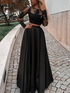 Elegant Two Piece Round Neck Long Sleeve Black Satin Lace Long Prom Dresses,Formal Party Dresses