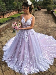 Romantic Ball Gown V Neck Open Back White Blush Lace Wedding Dresses
