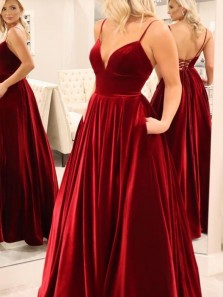Stunning A-Line V Neck Cross Back Burgundy Velvet Long Prom Dresses with Pockets,Vintage Formal Party Dresses
